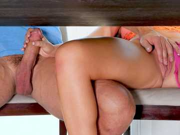 Alexis Adams touches the dick of her boyfriend under the table and then sucks his schlong