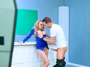 Flexible blonde with long legs Jane Douxxx has sex with the partner in the weather broadcast room